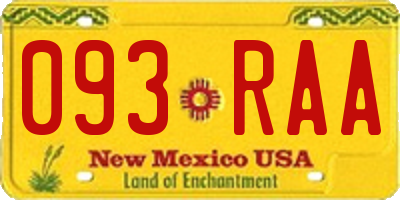 NM license plate 093RAA