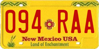 NM license plate 094RAA