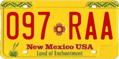 NM license plate 097RAA