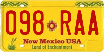 NM license plate 098RAA