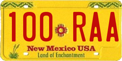 NM license plate 100RAA