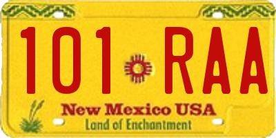NM license plate 101RAA