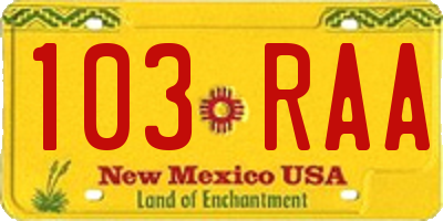 NM license plate 103RAA