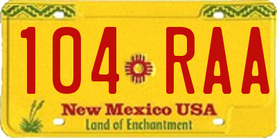 NM license plate 104RAA