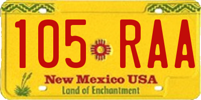 NM license plate 105RAA