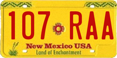 NM license plate 107RAA
