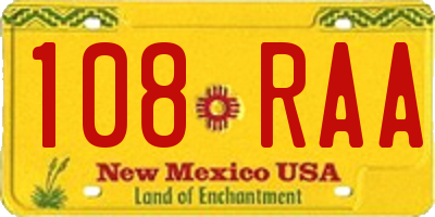 NM license plate 108RAA
