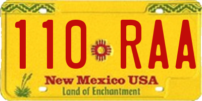 NM license plate 110RAA
