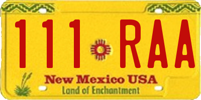 NM license plate 111RAA