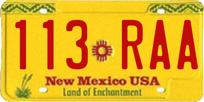 NM license plate 113RAA