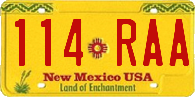 NM license plate 114RAA