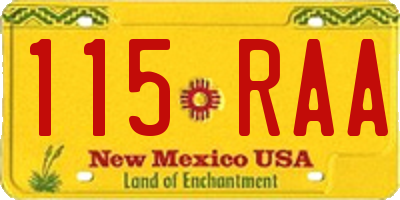 NM license plate 115RAA