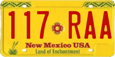 NM license plate 117RAA
