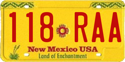 NM license plate 118RAA