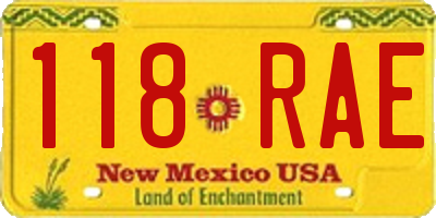 NM license plate 118RAE
