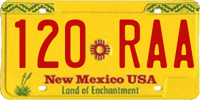 NM license plate 120RAA