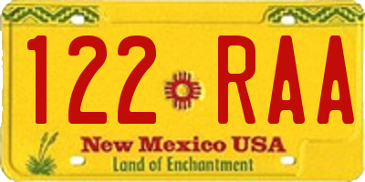 NM license plate 122RAA