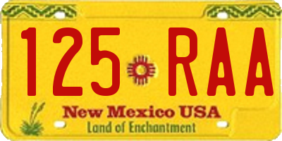 NM license plate 125RAA