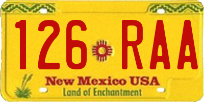 NM license plate 126RAA