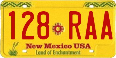 NM license plate 128RAA
