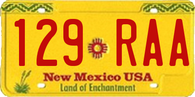 NM license plate 129RAA