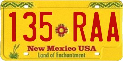 NM license plate 135RAA