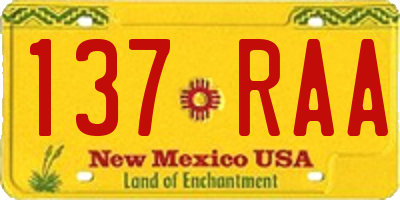NM license plate 137RAA