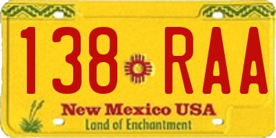 NM license plate 138RAA