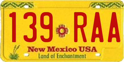 NM license plate 139RAA