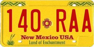 NM license plate 140RAA
