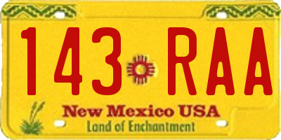 NM license plate 143RAA