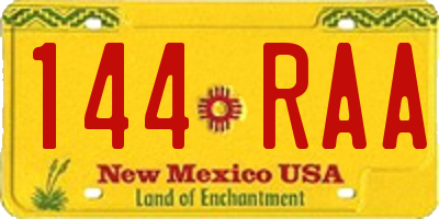 NM license plate 144RAA
