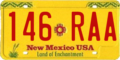 NM license plate 146RAA