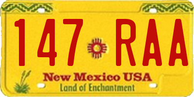 NM license plate 147RAA