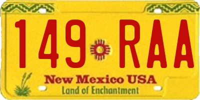 NM license plate 149RAA