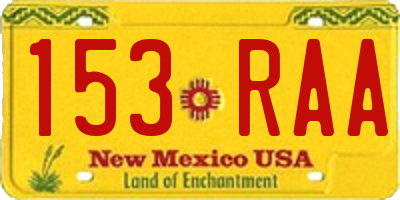 NM license plate 153RAA