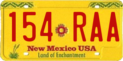 NM license plate 154RAA