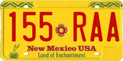 NM license plate 155RAA