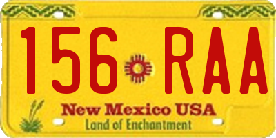 NM license plate 156RAA