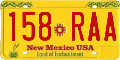 NM license plate 158RAA
