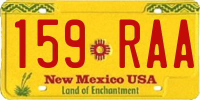 NM license plate 159RAA
