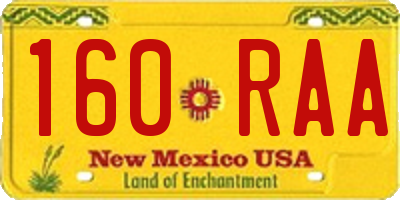 NM license plate 160RAA
