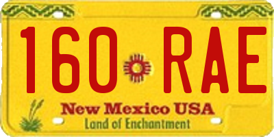NM license plate 160RAE