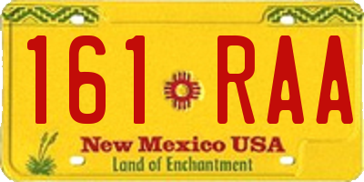 NM license plate 161RAA
