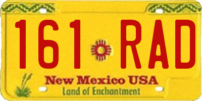 NM license plate 161RAD