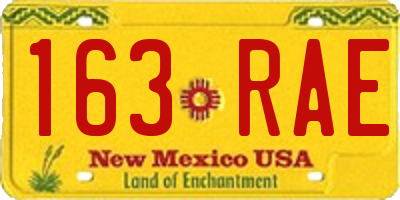 NM license plate 163RAE