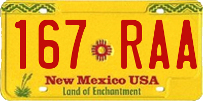 NM license plate 167RAA