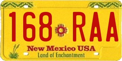 NM license plate 168RAA