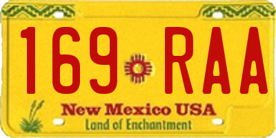 NM license plate 169RAA