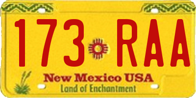 NM license plate 173RAA
